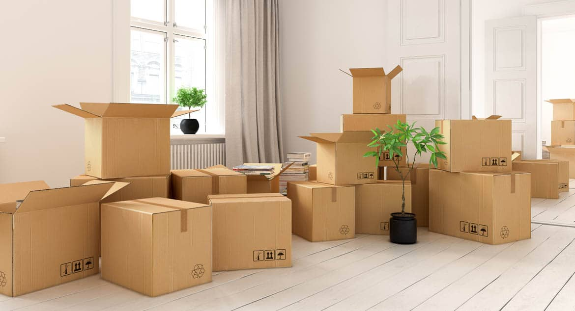 Many large cardboard used for moving personal belongings
